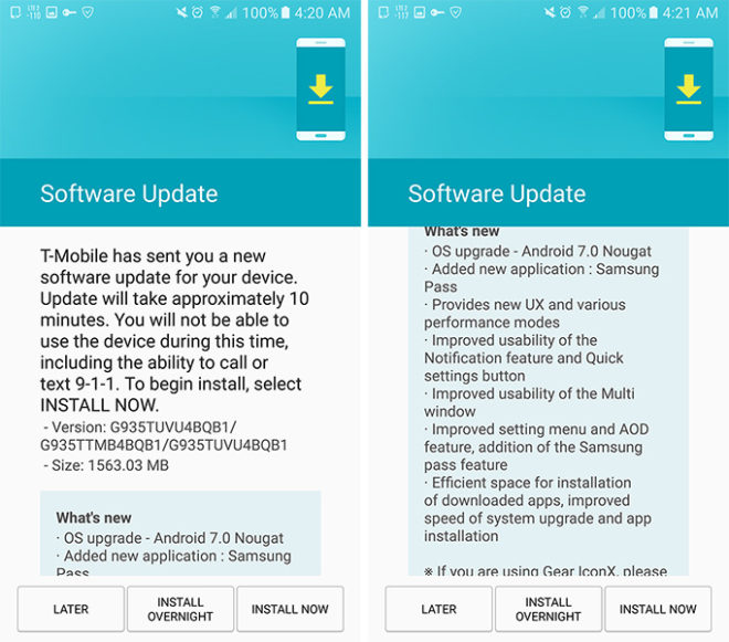 T-Mobile Galaxy S7 Nougat update